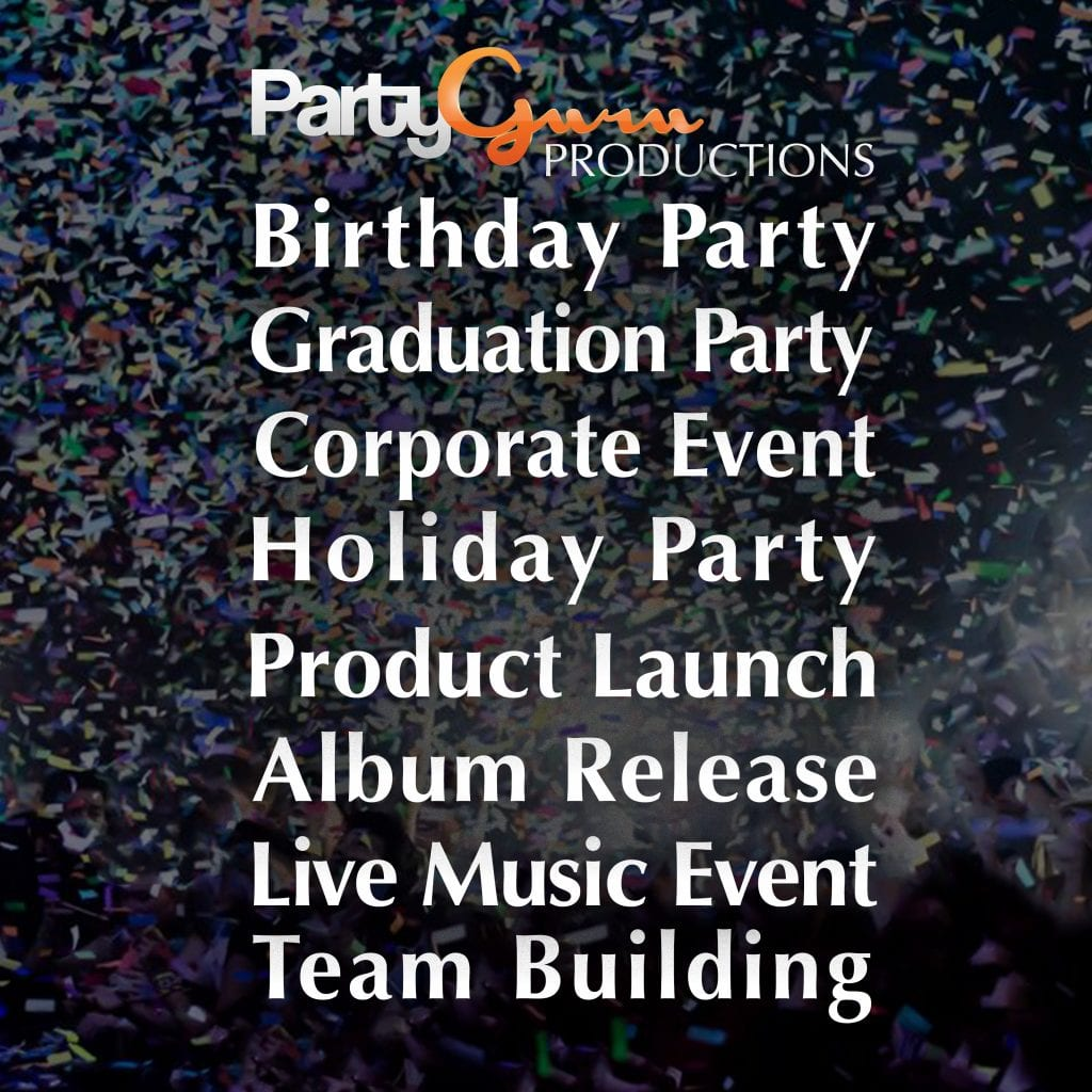 office party, birthday party, holiday party, product launch, album release, live music event, team building, event planning